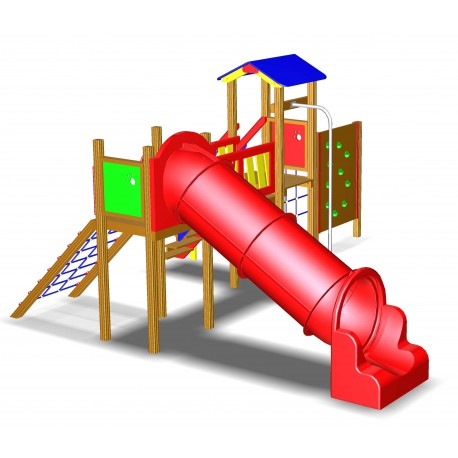 Gioco per parchi pubblici con scivolo a tubo