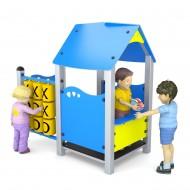 Gioco per parchi casetta con veranda e pannelli gioco labirinto e tris